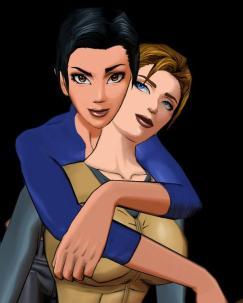 Hana Tsu Vachel e Rain Qin são personagens do jogo Fear Effect. Além de formarem um casal lésbico, Hana é bissexual.