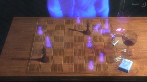 Aqui você pode interagir tanto no xadrez, ativando as falas adquiridas em pontos específicos do tabuleiro, quanto beber vinho e fumar.